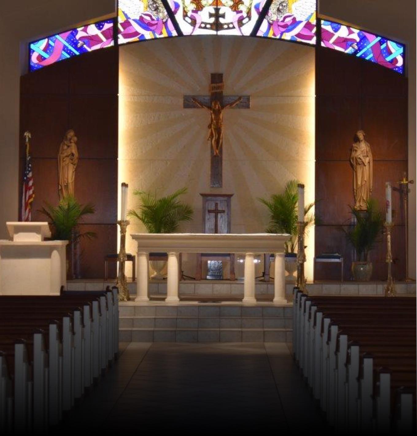 Interior view of new church build altar at St. Stephen's Catholic Church, Midlands, TX