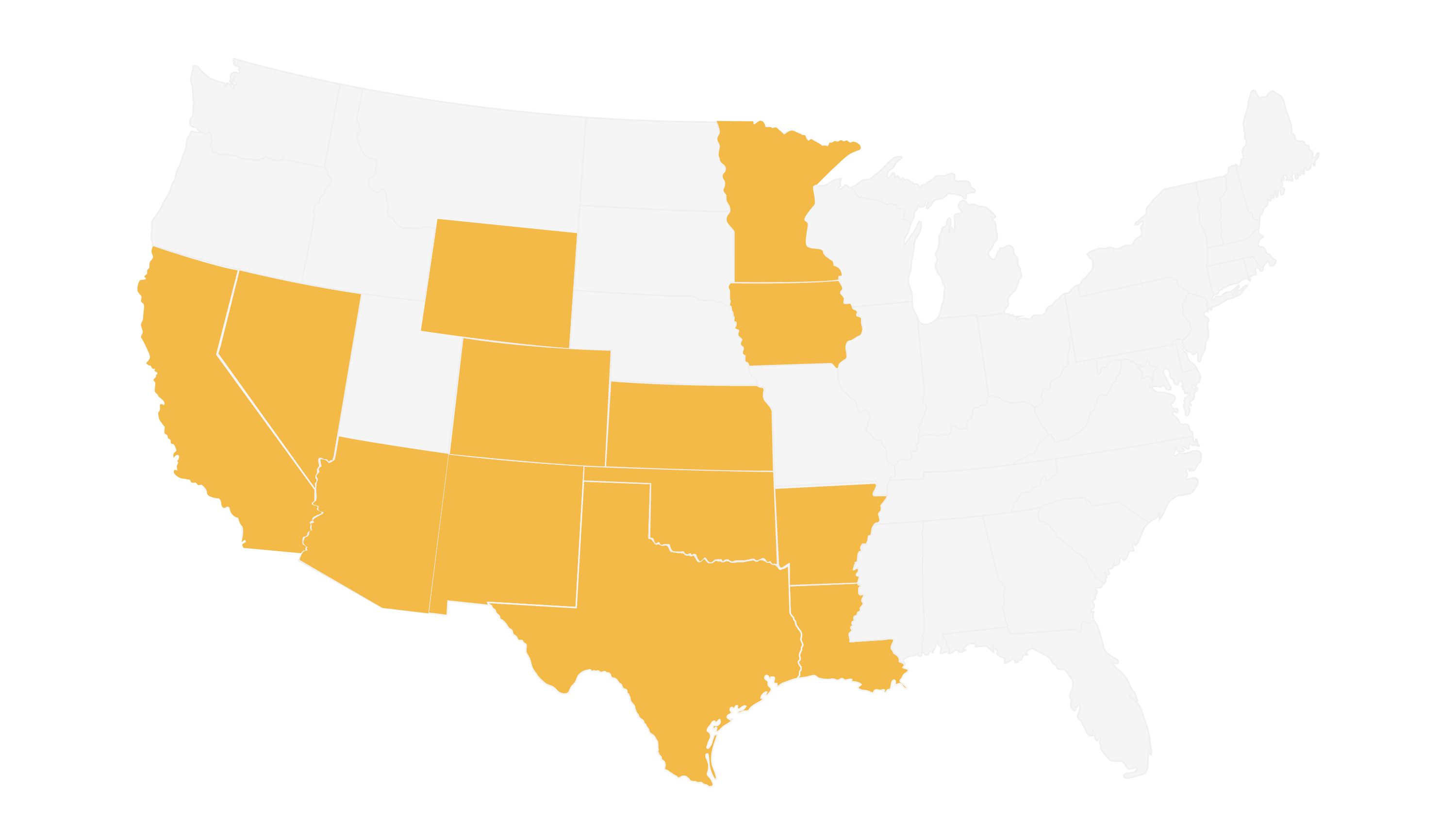 White map of US with 13 states in light orange. Shows the states where general contract, NC Sturgeon, does industrial and commercial building projects